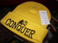 CONQUER  LION OF JUDAH  KNIT CAP/YELLOW/ONE DROP&VERSION
