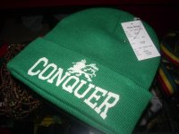 CONQUER  LION OF JUDAH  KNIT CAP/GREEN/ONE DROP&VERSION
